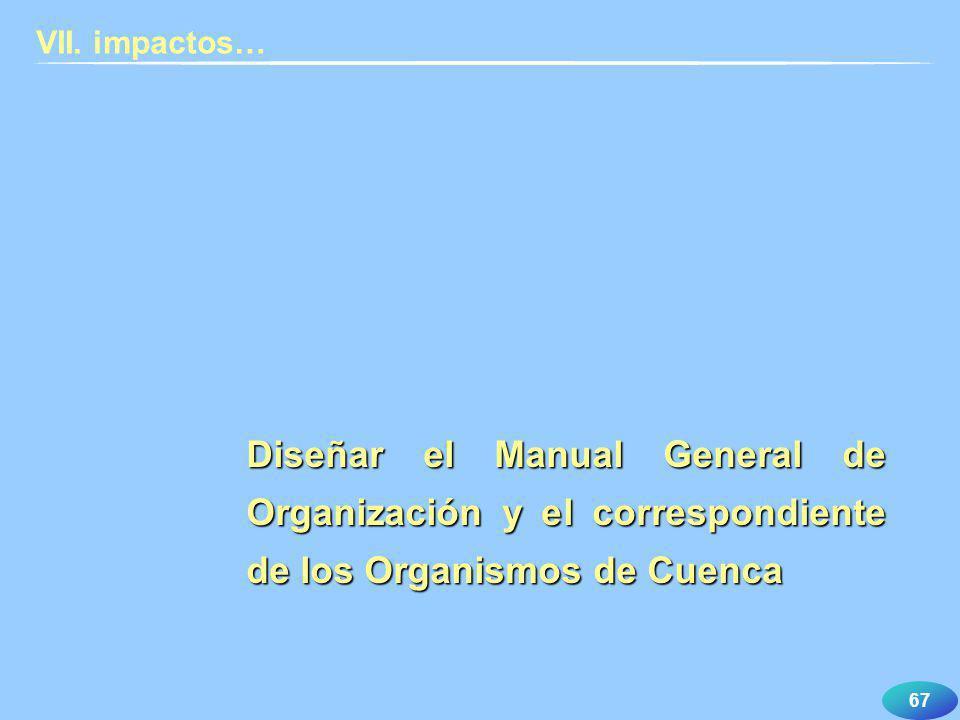 67 VII. impactos… Diseñar el Manual General de Organización y el correspondiente de los Organismos de Cuenca