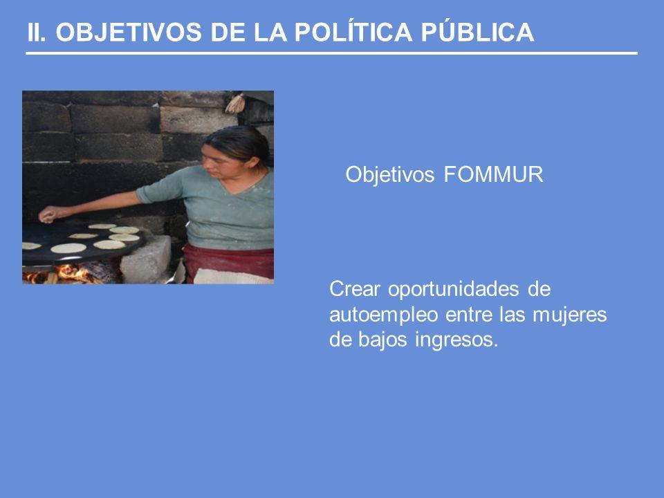 II. OBJETIVOS DE LA POLÍTICA PÚBLICA Objetivos FOMMUR Crear oportunidades de autoempleo entre las mujeres de bajos ingresos.