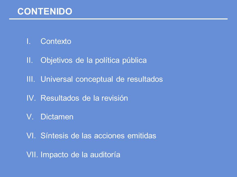 I.Contexto II.Objetivos de la política pública III.Universal conceptual de resultados IV.Resultados de la revisión V.Dictamen VI.Síntesis de las acciones emitidas VII.Impacto de la auditoría CONTENIDO