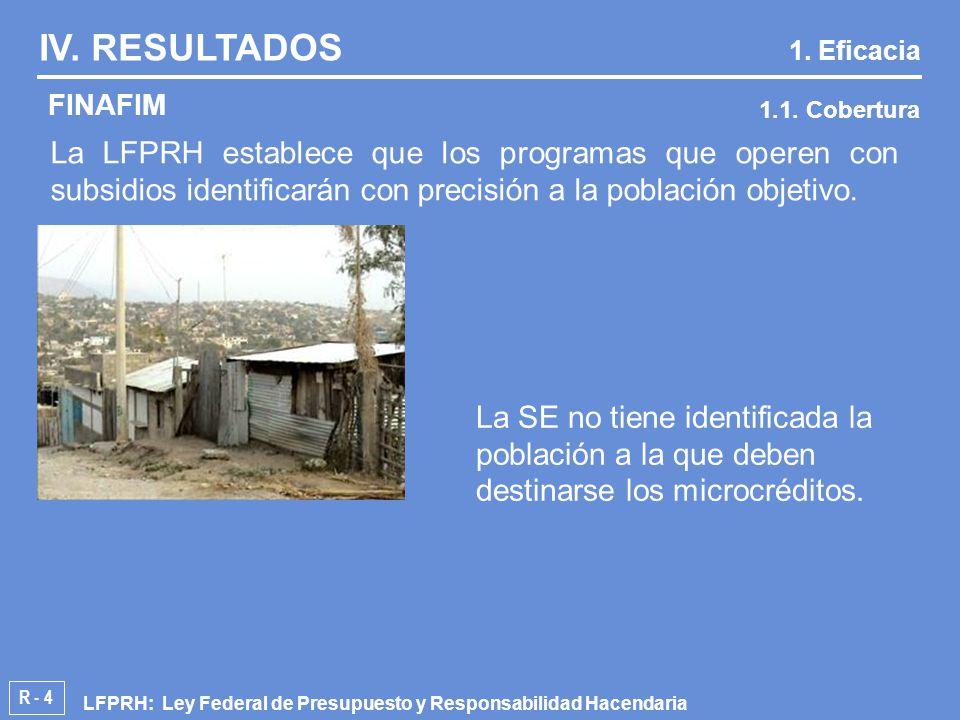R - 4 La LFPRH establece que los programas que operen con subsidios identificarán con precisión a la población objetivo.