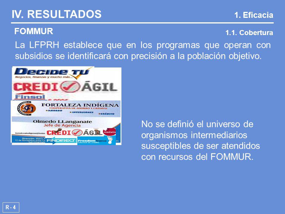 R - 4 FOMMUR IV. RESULTADOS 1. Eficacia 1.1.