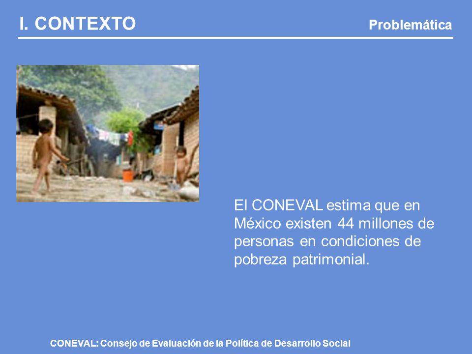 I. CONTEXTO Problemática El 70% de los 44 millones de pobres en México son mujeres.