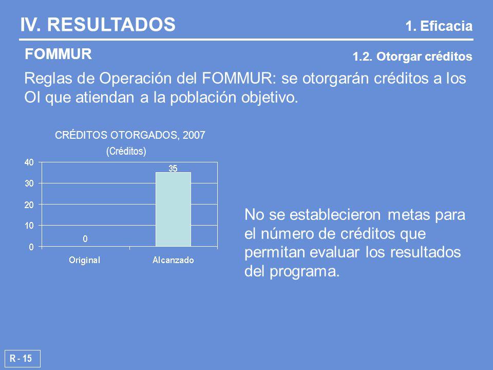 R - 15 Reglas de Operación del FOMMUR: se otorgarán créditos a los OI que atiendan a la población objetivo.
