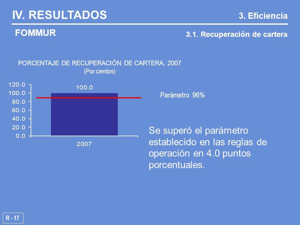 R - 17 Parámetro 96% IV. RESULTADOS 3.1.