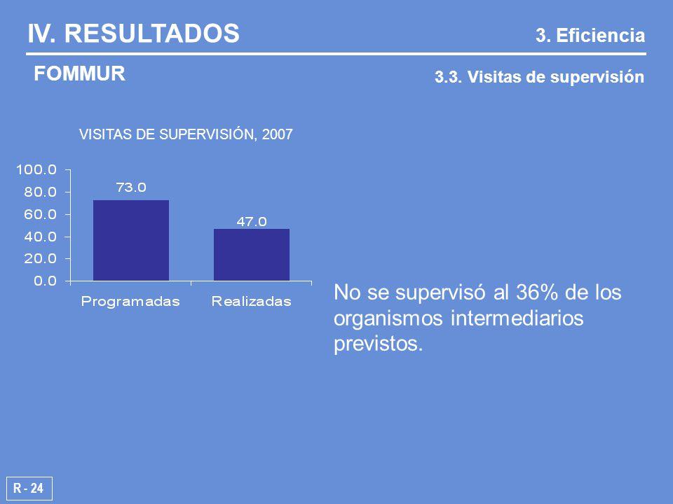 VISITAS DE SUPERVISIÓN, 2007 R - 24 IV. RESULTADOS 3.3.