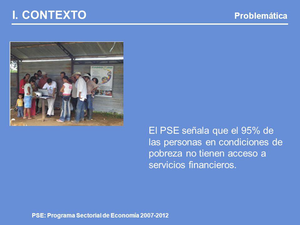 I. CONTEXTO Problemática PSE: Programa Sectorial de Economía 2007-2012 El PSE señala que el 95% de las personas en condiciones de pobreza no tienen ac