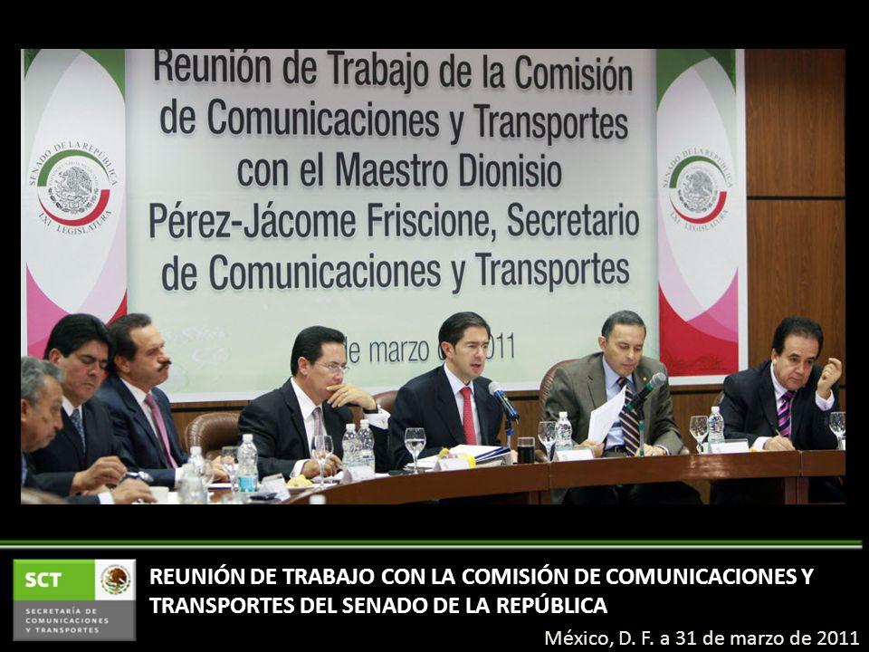REUNIÓN DE TRABAJO CON LA COMISIÓN DE COMUNICACIONES Y TRANSPORTES DEL SENADO DE LA REPÚBLICA México, D.