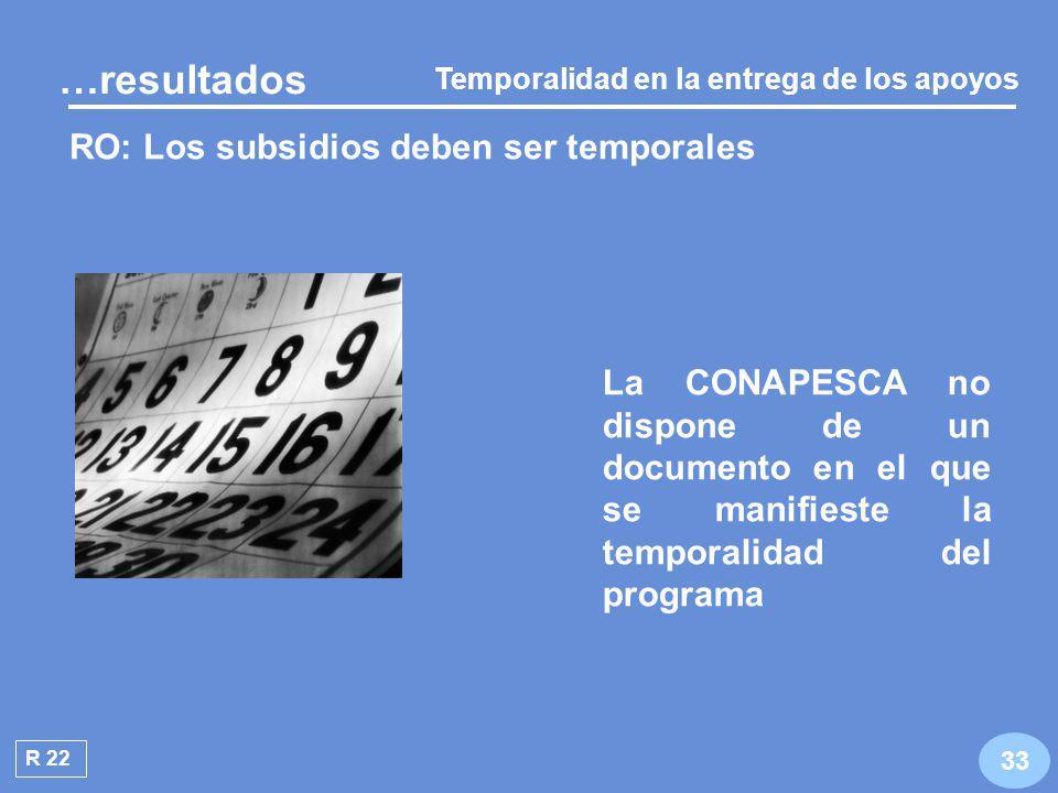 R 21 No fue posible verificar la aplicación del criterio de elegibilidad porque la CONAPESCA no cuenta con expedientes 32 …resultados RO: Requisitos para los programas de Alianza para el Campo Elegibilidad en la entrega de los apoyos