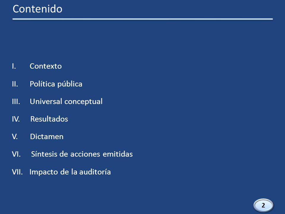 I.Contexto II.Política pública III.Universal conceptual IV.
