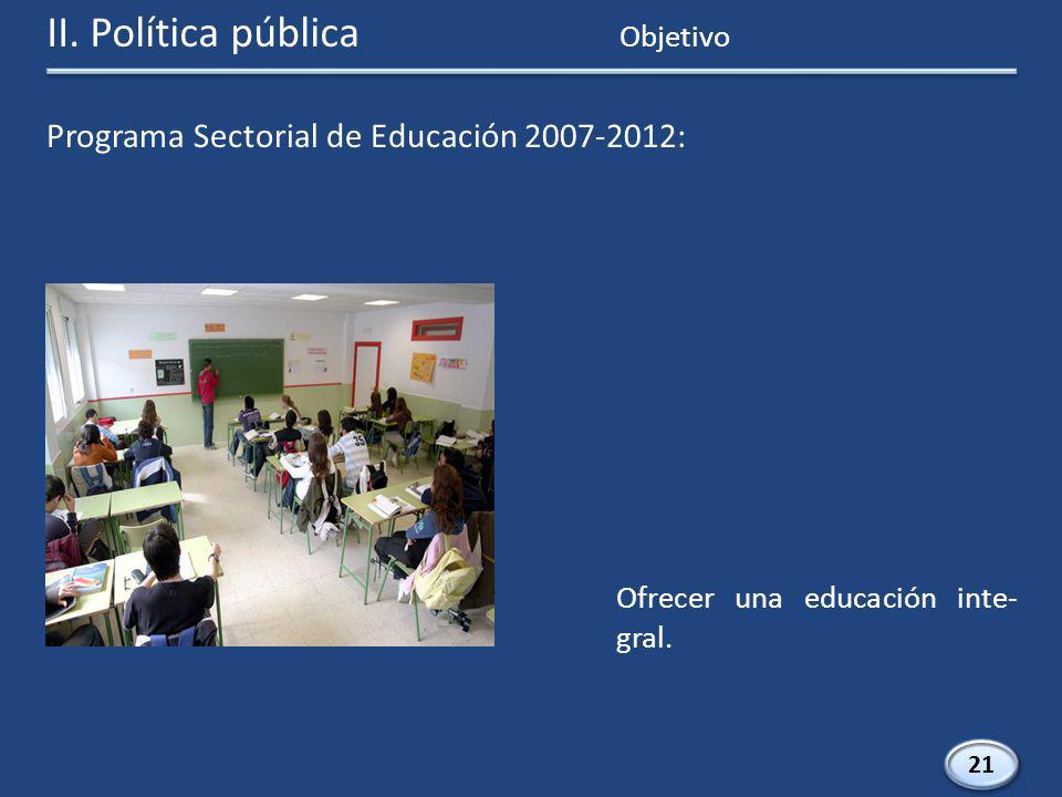Programa Sectorial de Educación 2007-2012: 21 Ofrecer una educación inte- gral.