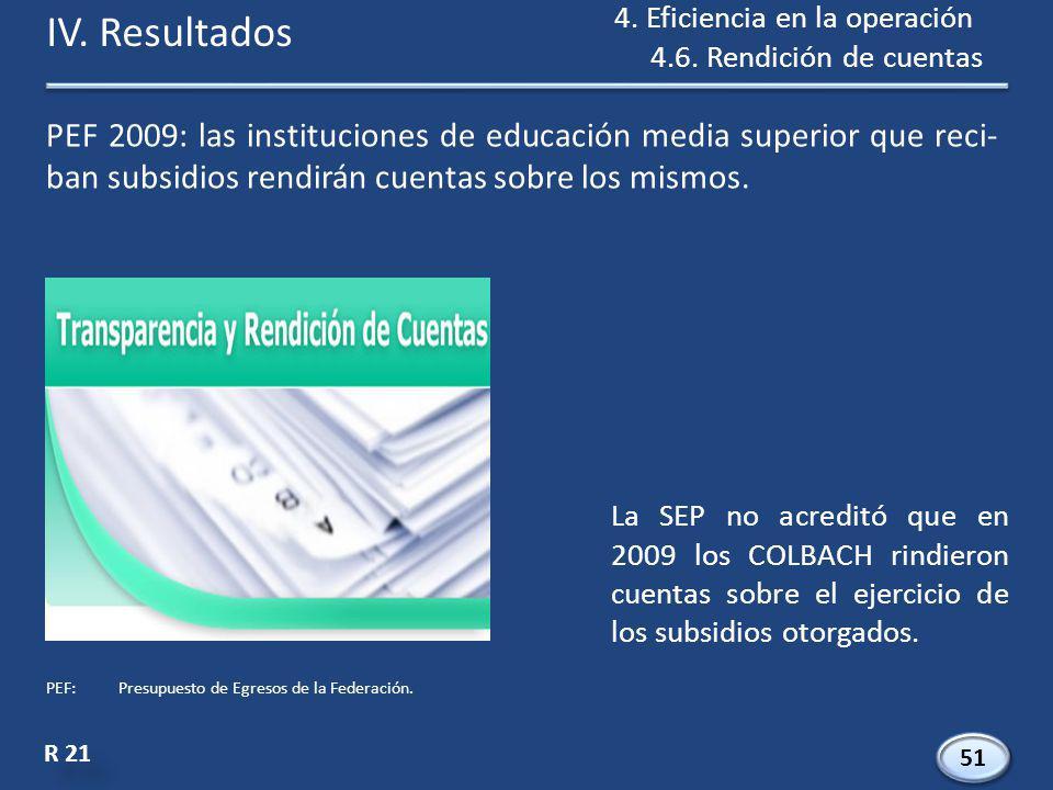 PEF 2009: las instituciones de educación media superior que reci- ban subsidios rendirán cuentas sobre los mismos.