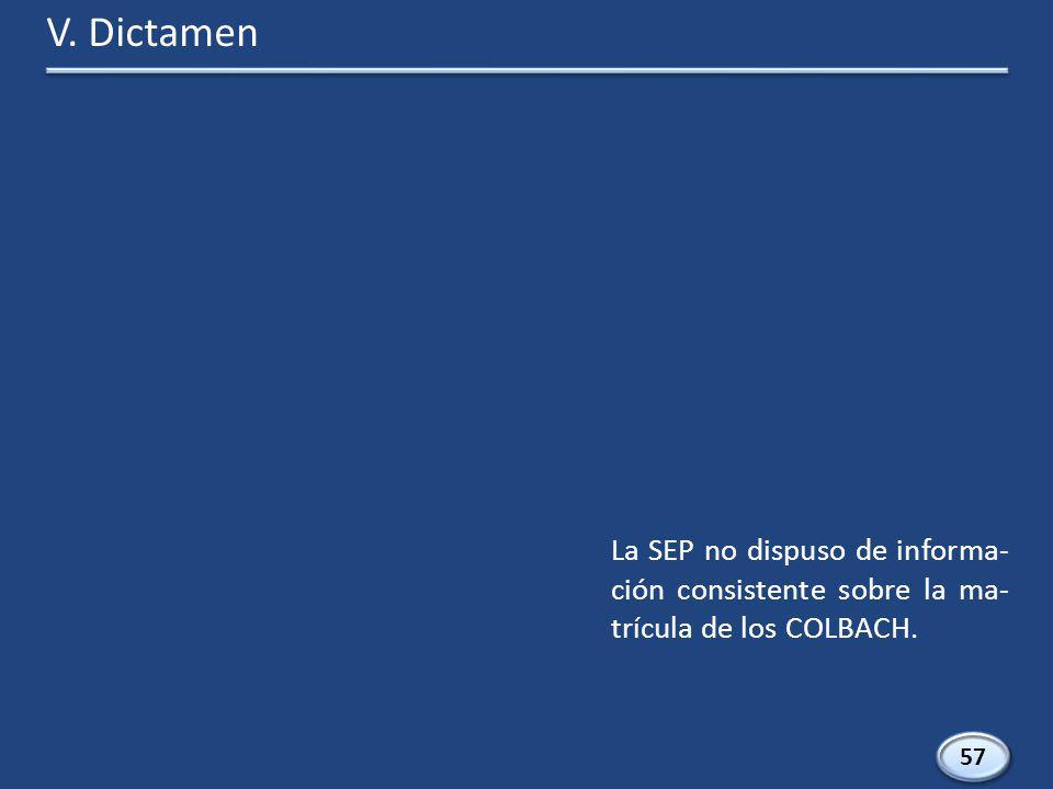 57 La SEP no dispuso de informa- ción consistente sobre la ma- trícula de los COLBACH. V. Dictamen