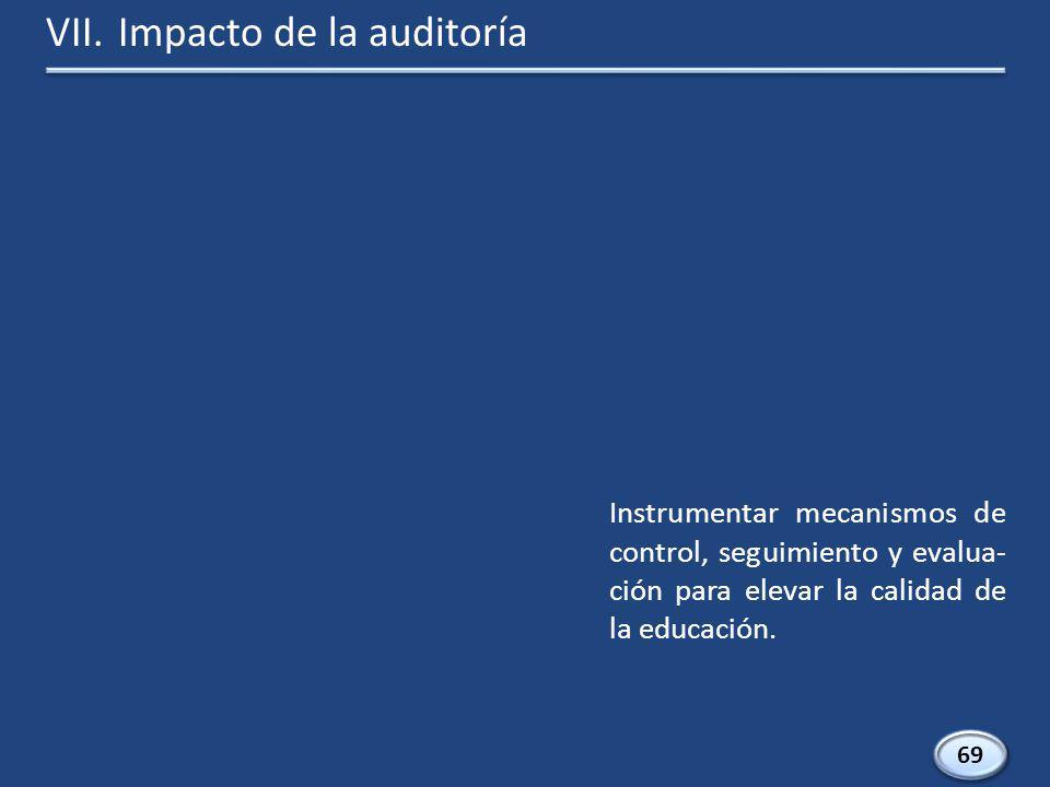 69 Instrumentar mecanismos de control, seguimiento y evalua- ción para elevar la calidad de la educación.
