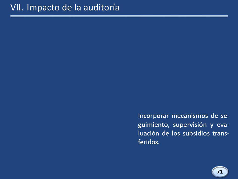 71 Incorporar mecanismos de se- guimiento, supervisión y eva- luación de los subsidios trans- feridos.