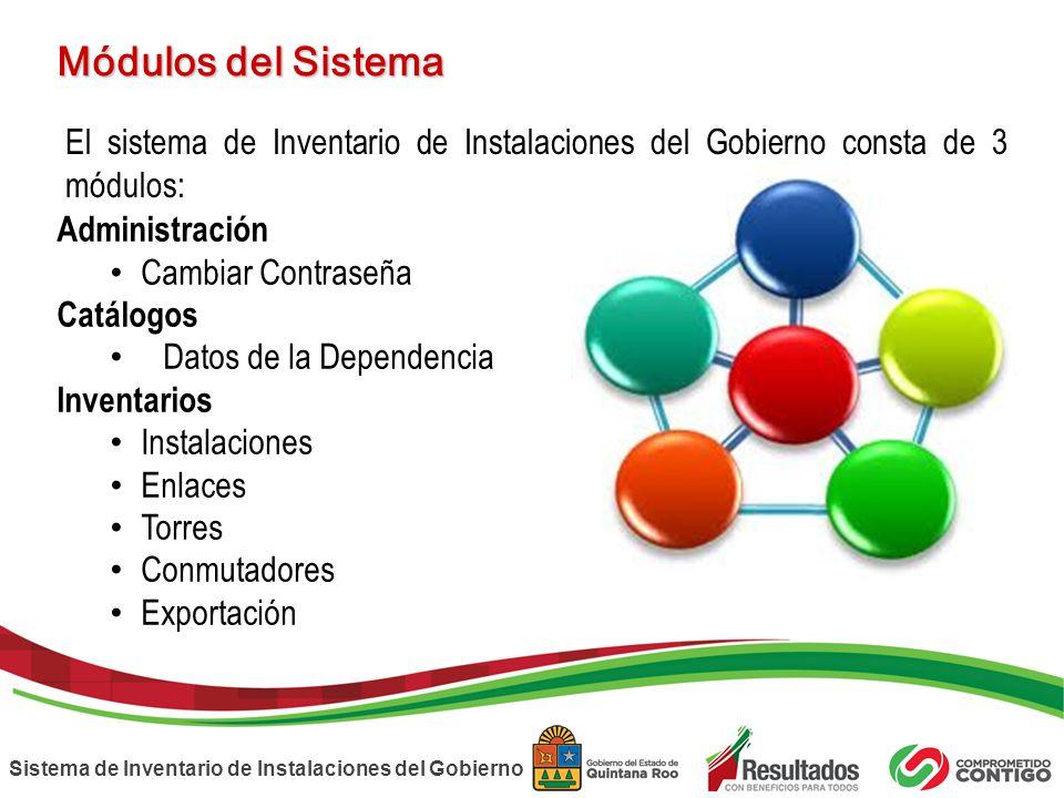 Sistema de Inventario de Instalaciones del Gobierno Módulos del Sistema El sistema de Inventario de Instalaciones del Gobierno consta de 3 módulos: Ad
