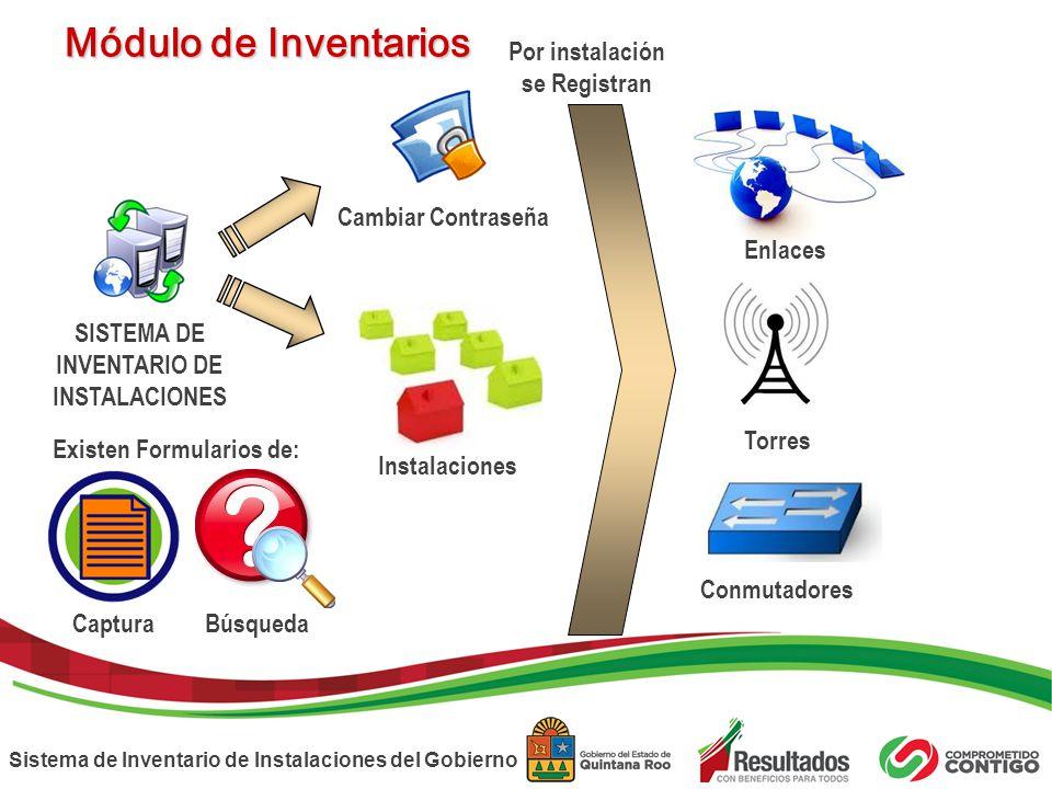 Sistema de Inventario de Instalaciones del Gobierno SISTEMA DE INVENTARIO DE INSTALACIONES Cambiar Contraseña Enlaces Instalaciones Módulo de Inventar