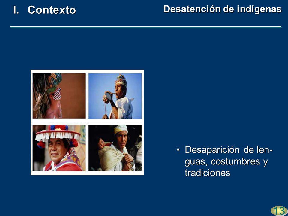 Desaparición de len- guas, costumbres y tradicionesDesaparición de len- guas, costumbres y tradiciones 13 I.Contexto Desatención de indígenas