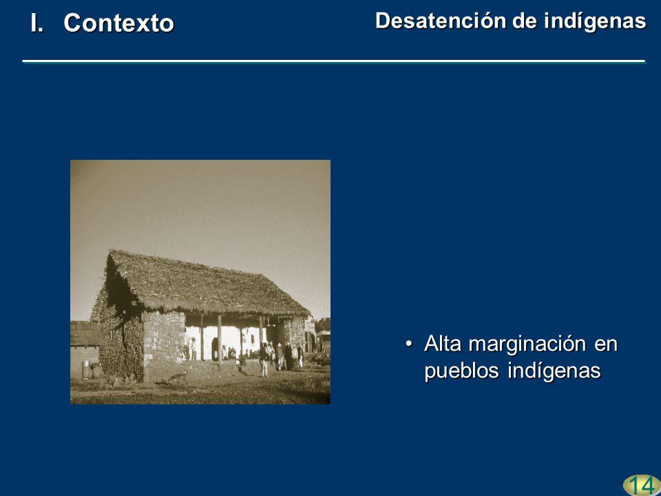 Alta marginación en pueblos indígenasAlta marginación en pueblos indígenas 14 I.Contexto Desatención de indígenas