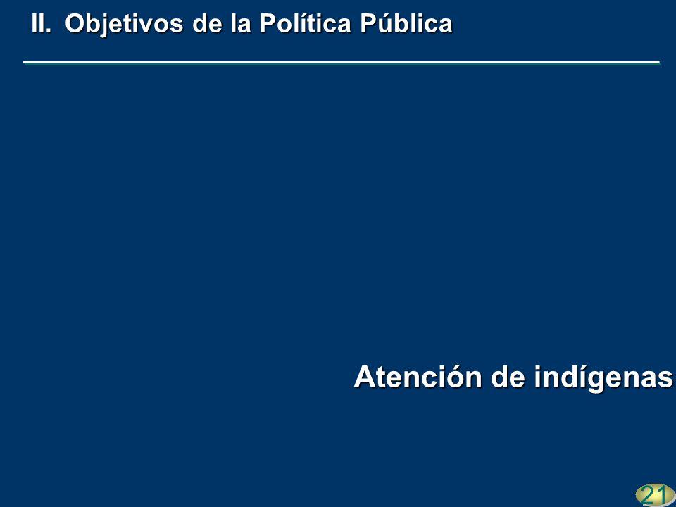 21 II.Objetivos de la Política Pública Atención de indígenas