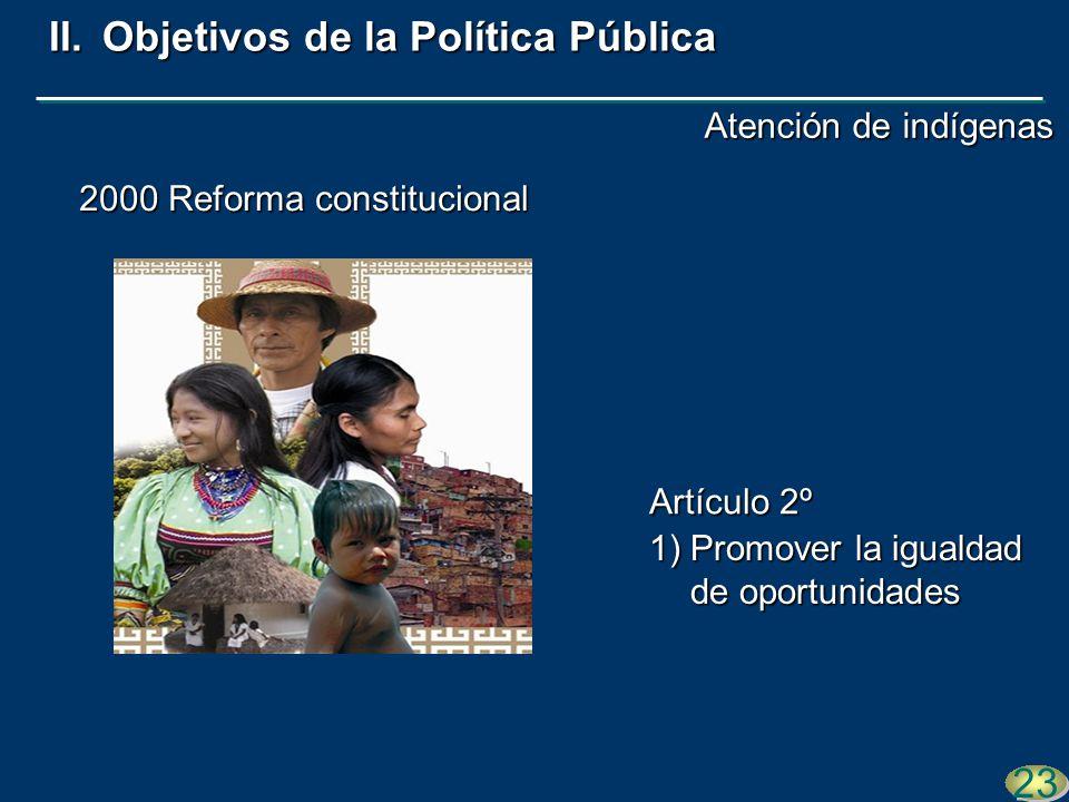 1)Promover la igualdad de oportunidades 23 2000 Reforma constitucional II.Objetivos de la Política Pública Artículo 2º Atención de indígenas