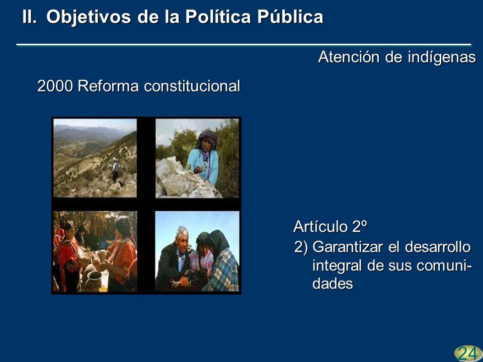 2000 Reforma constitucional 2)Garantizar el desarrollo integral de sus comuni- dades 24 II.Objetivos de la Política Pública Artículo 2º Atención de in