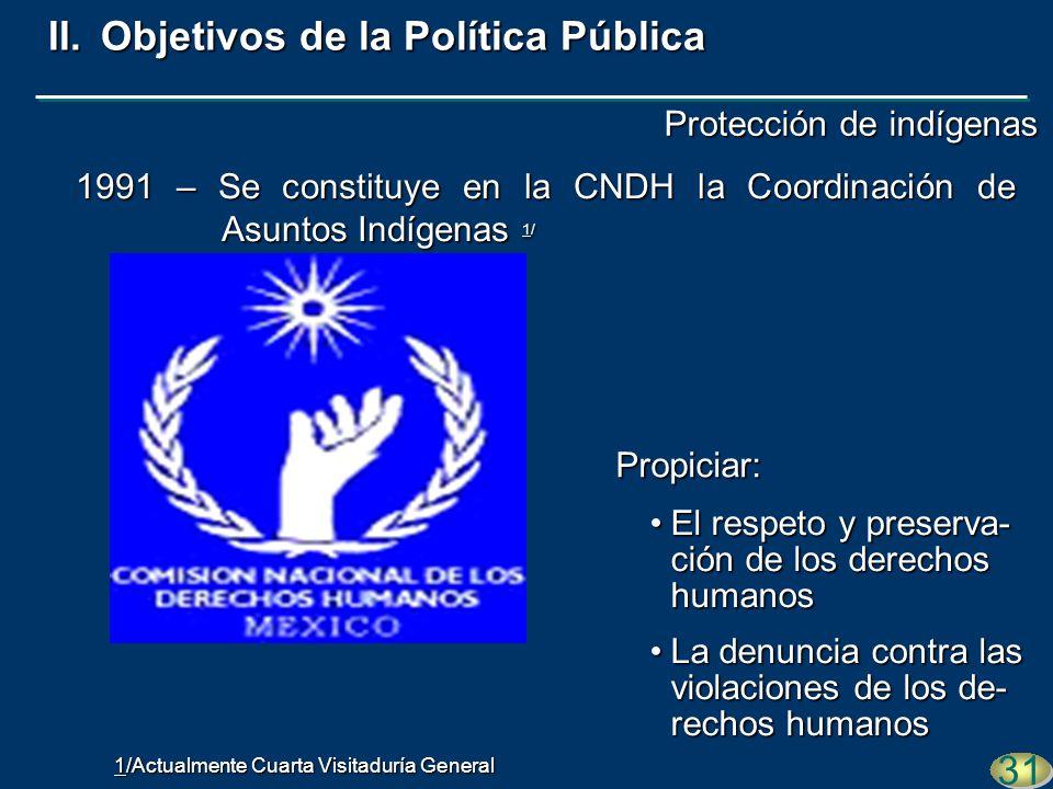 Propiciar: 31 1991 – Se constituye en la CNDH la Coordinación de Asuntos Indígenas 1/ El respeto y preserva- ción de los derechos humanosEl respeto y