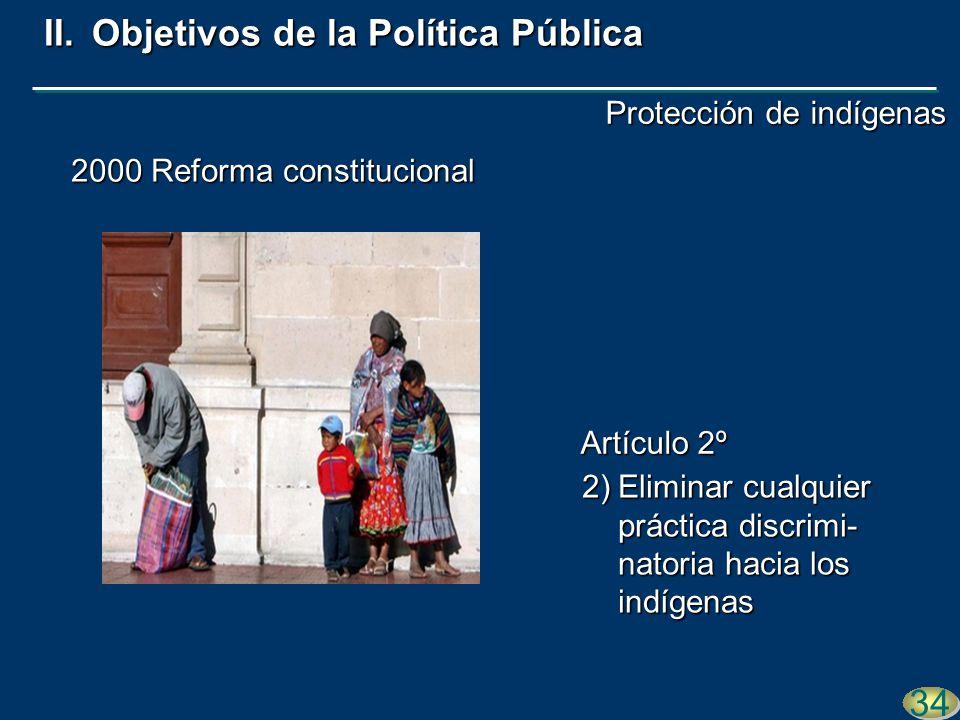 2)Eliminar cualquier práctica discrimi- natoria hacia los indígenas 34 2000 Reforma constitucional II.Objetivos de la Política Pública Artículo 2º Protección de indígenas