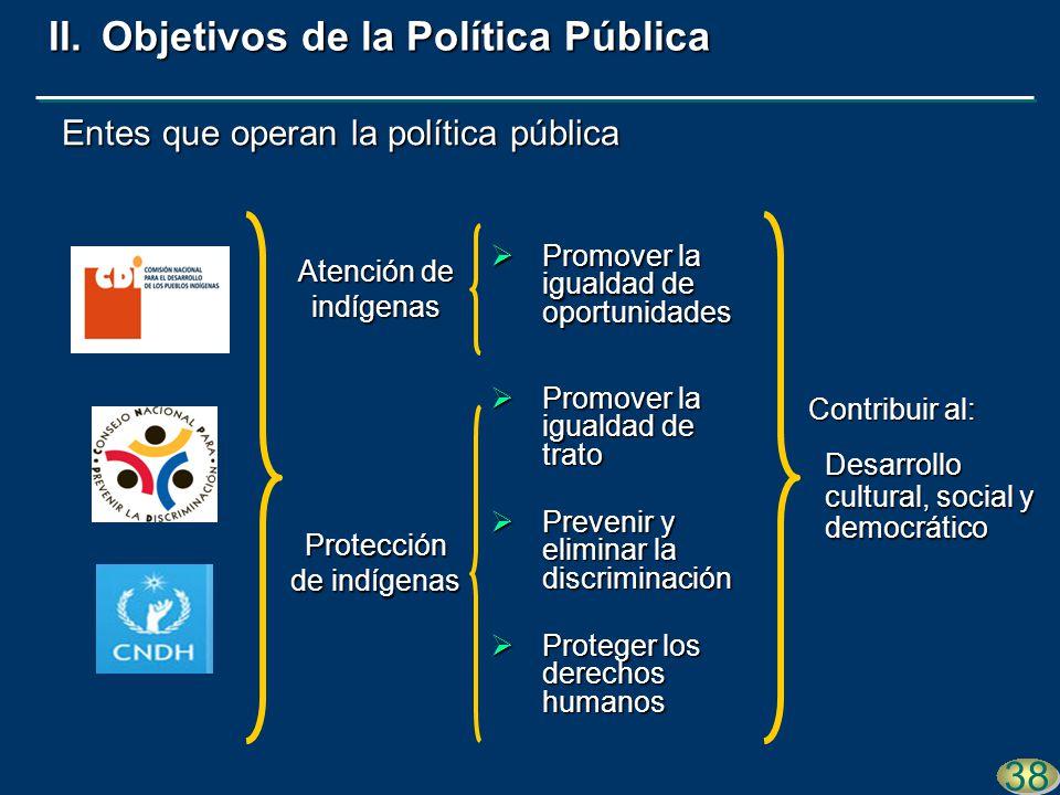 Entes que operan la política pública 38 Promover la igualdad de trato Promover la igualdad de trato Prevenir y eliminar la discriminación Prevenir y e