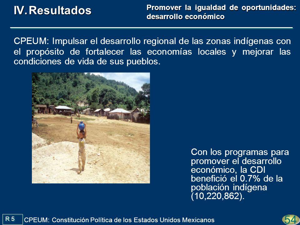 Con los programas para promover el desarrollo económico, la CDI benefició el 0.7% de la población indígena (10,220,862). R 5 CPEUM: Constitución Polít