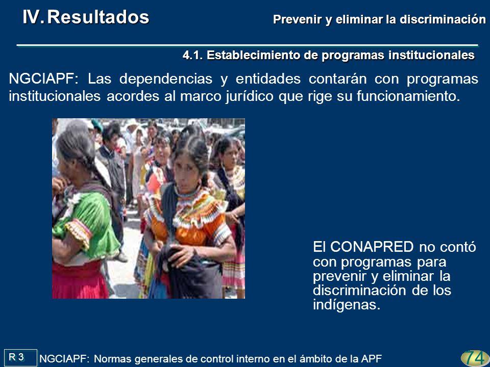 4.1. Establecimiento de programas institucionales El CONAPRED no contó con programas para prevenir y eliminar la discriminación de los indígenas. 74 R