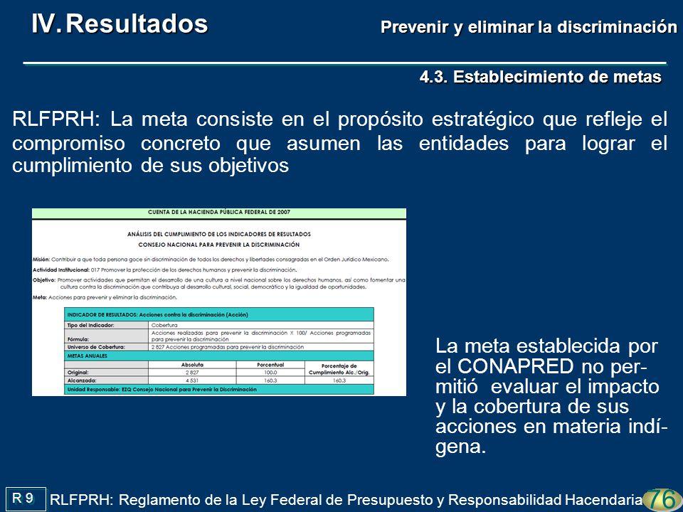 4.3. Establecimiento de metas La meta establecida por el CONAPRED no per- mitió evaluar el impacto y la cobertura de sus acciones en materia indí- gen