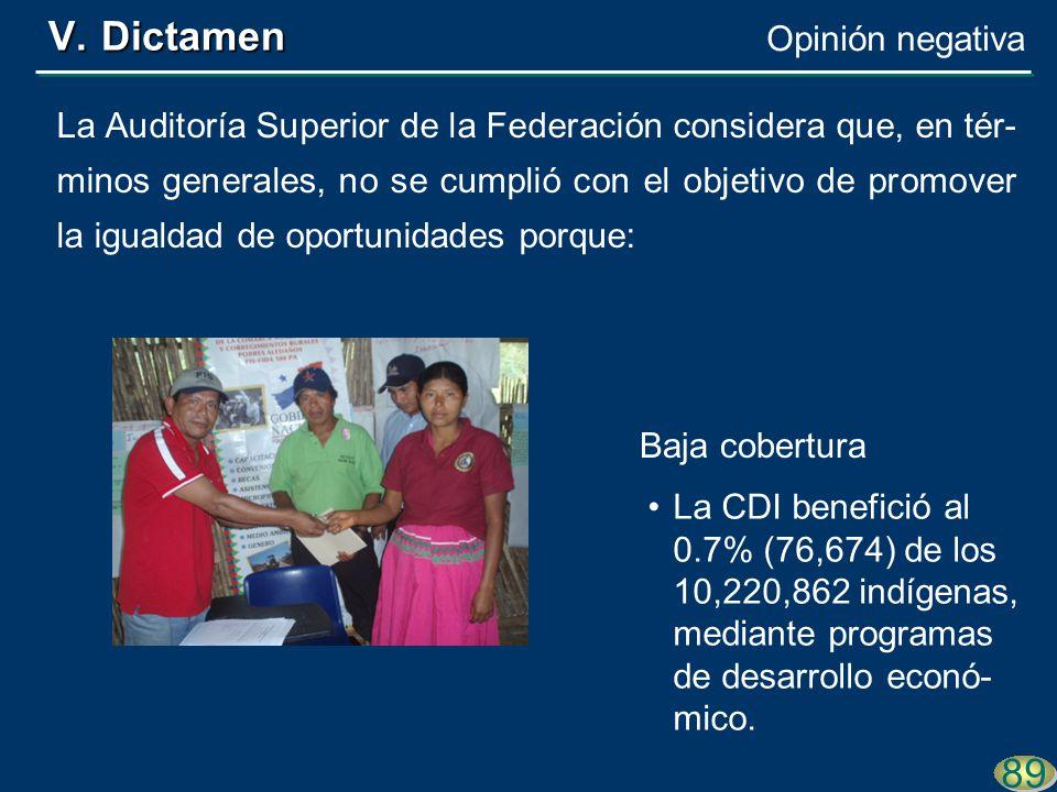89 La Auditoría Superior de la Federación considera que, en tér- minos generales, no se cumplió con el objetivo de promover la igualdad de oportunidades porque: La CDI benefició al 0.7% (76,674) de los 10,220,862 indígenas, mediante programas de desarrollo econó- mico.
