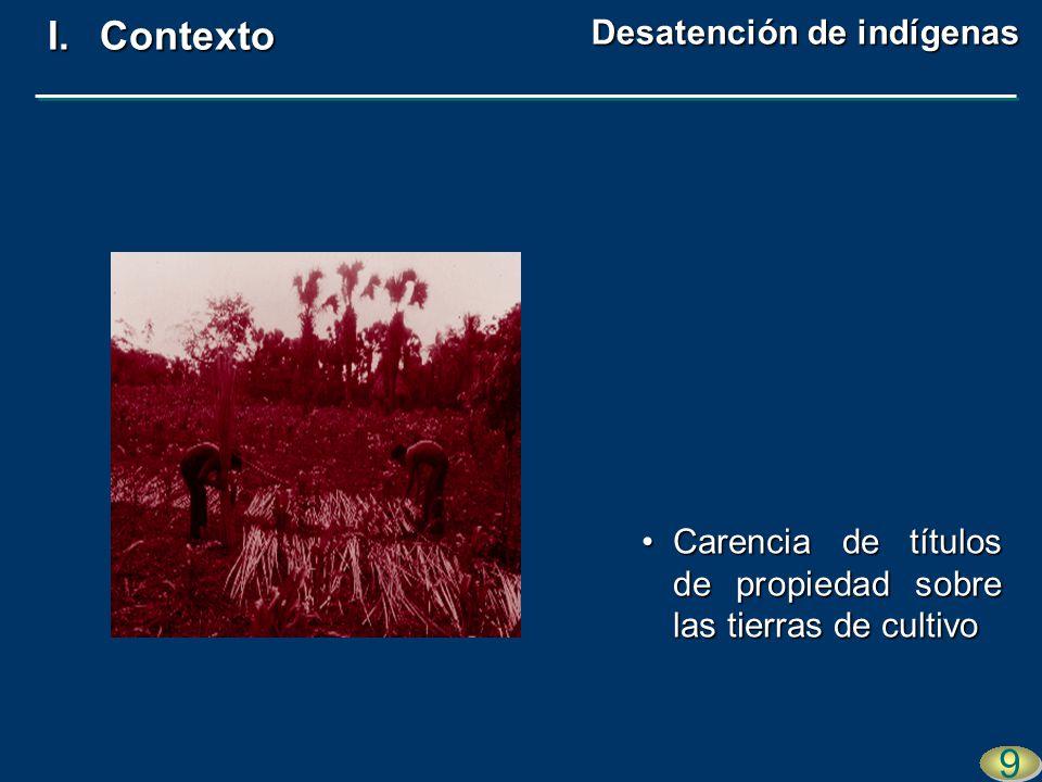 Carencia de títulos de propiedad sobre las tierras de cultivoCarencia de títulos de propiedad sobre las tierras de cultivo 9 9 I.Contexto Desatención de indígenas