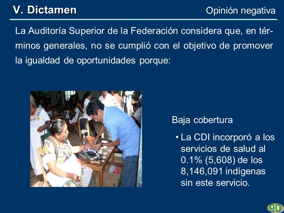90 La Auditoría Superior de la Federación considera que, en tér- minos generales, no se cumplió con el objetivo de promover la igualdad de oportunidades porque: La CDI incorporó a los servicios de salud al 0.1% (5,608) de los 8,146,091 indígenas sin este servicio.