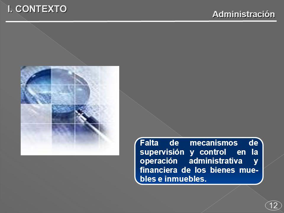 12 Falta de mecanismos de supervisión y control en la operación administrativa y financiera de los bienes mue- bles e inmuebles.