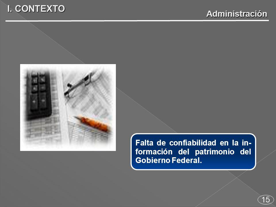 Falta de confiabilidad en la in- formación del patrimonio del Gobierno Federal.