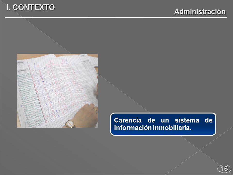16 Carencia de un sistema de información inmobiliaria. I. CONTEXTO Administración