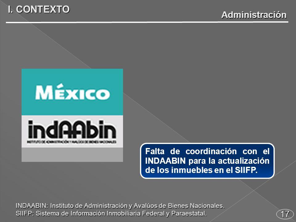17 Falta de coordinación con el INDAABIN para la actualización de los inmuebles en el SIIFP.