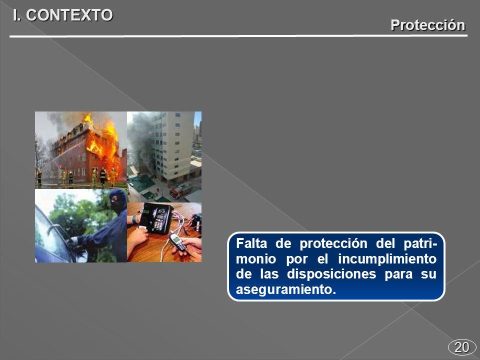 20 Falta de protección del patri- monio por el incumplimiento de las disposiciones para su aseguramiento.