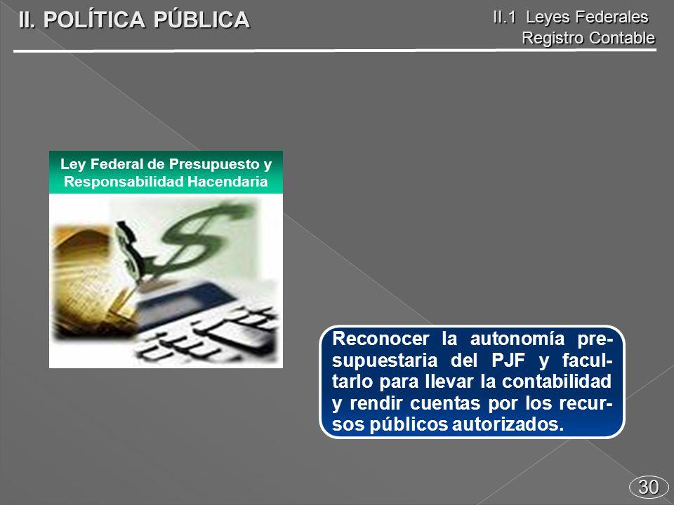 30 Reconocer la autonomía pre- supuestaria del PJF y facul- tarlo para llevar la contabilidad y rendir cuentas por los recur- sos públicos autorizados.