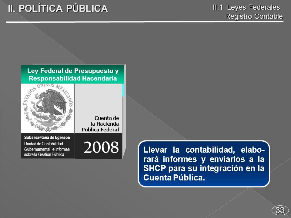 33 Llevar la contabilidad, elabo- rará informes y enviarlos a la SHCP para su integración en la Cuenta Pública.