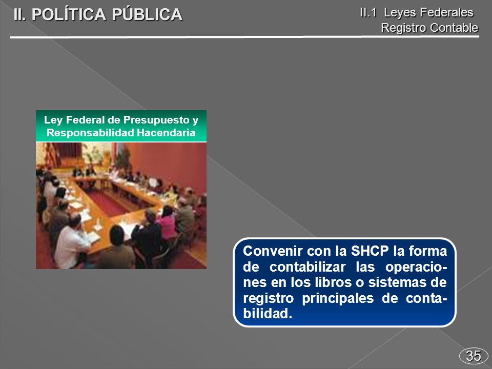 35 Convenir con la SHCP la forma de contabilizar las operacio- nes en los libros o sistemas de registro principales de conta- bilidad.