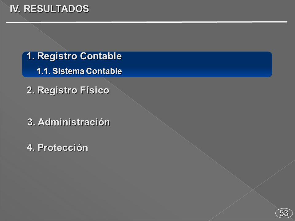 53 1. Registro Contable 1.1. Sistema Contable 2. Registro Físico 3. Administración 4. Protección