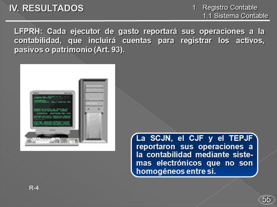 55 La SCJN, el CJF y el TEPJF reportaron sus operaciones a la contabilidad mediante siste- mas electrónicos que no son homogéneos entre si.