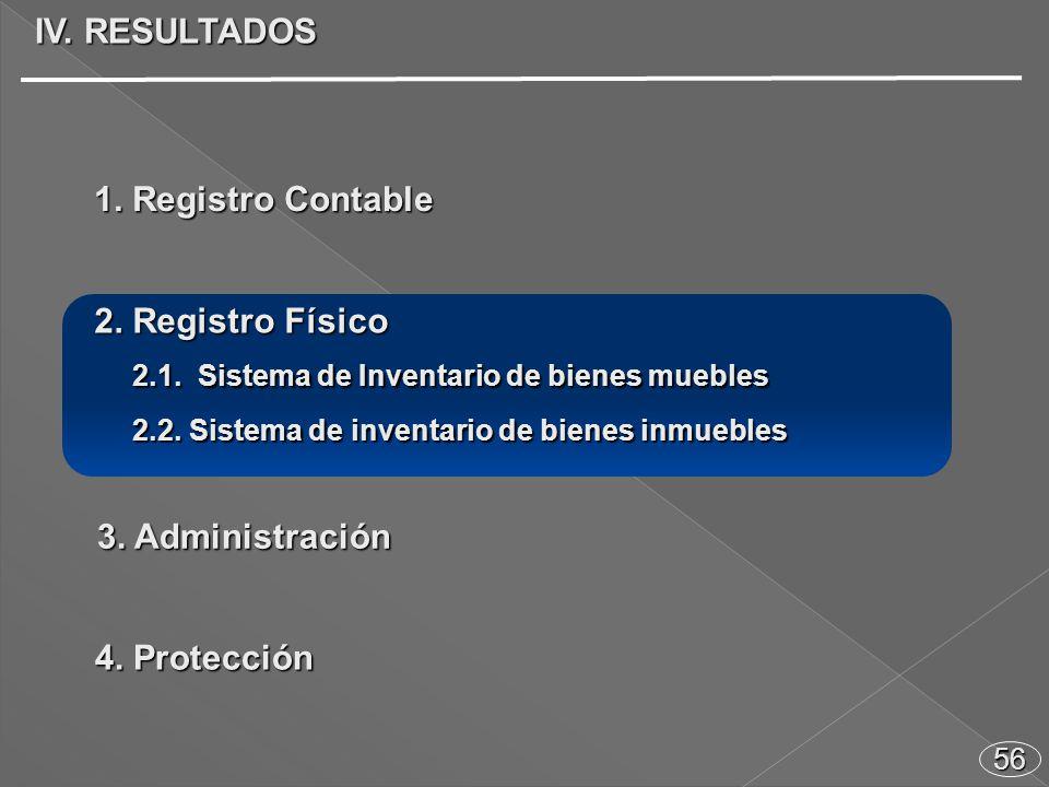 56 IV. RESULTADOS 2.1. Sistema de Inventario de bienes muebles 2.1.
