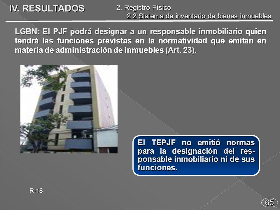 65 LGBN: El PJF podrá designar a un responsable inmobiliario quien tendrá las funciones previstas en la normatividad que emitan en materia de administración de inmuebles (Art.