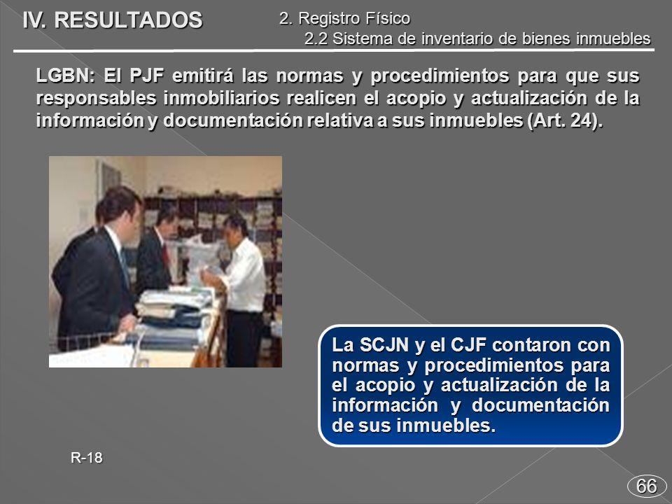 66 La SCJN y el CJF contaron con normas y procedimientos para el acopio y actualización de la información y documentación de sus inmuebles.