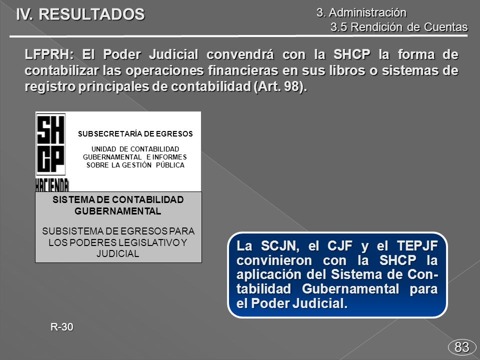83 La SCJN, el CJF y el TEPJF convinieron con la SHCP la aplicación del Sistema de Con- tabilidad Gubernamental para el Poder Judicial.