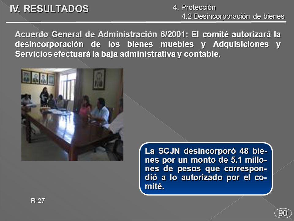 90 Acuerdo General de Administración 6/2001: El comité autorizará la desincorporación de los bienes muebles y Adquisiciones y Servicios efectuará la baja administrativa y contable.