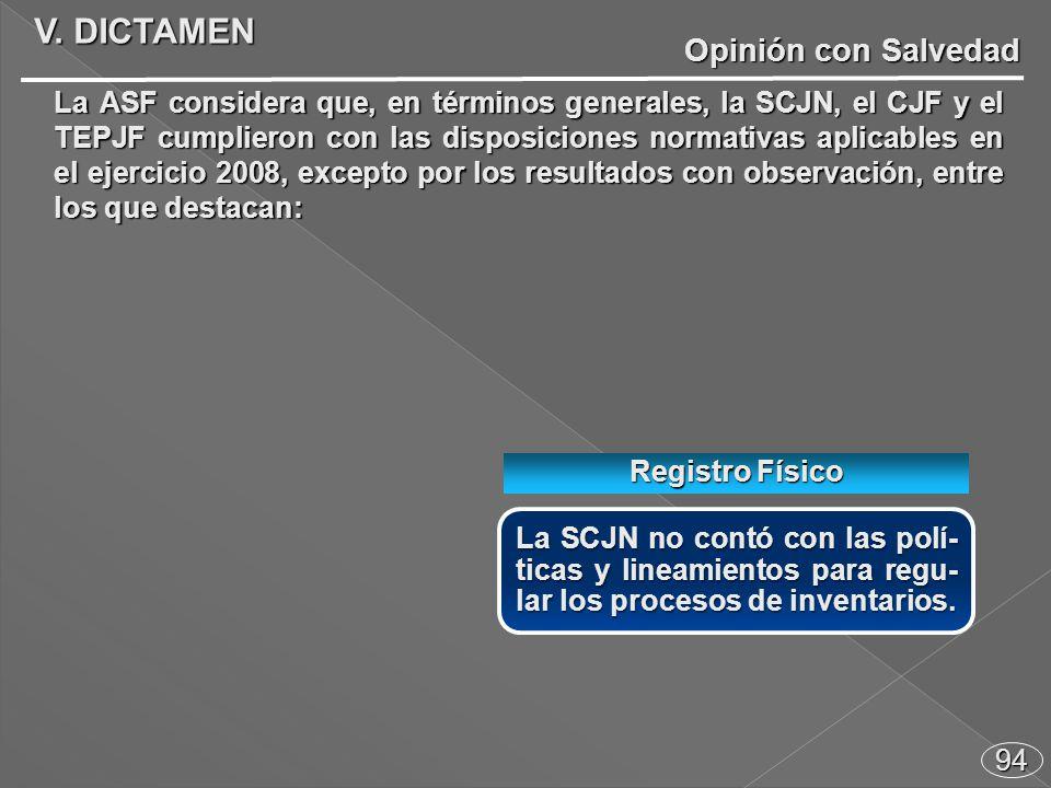 94 Opinión con Salvedad La SCJN no contó con las polí- ticas y lineamientos para regu- lar los procesos de inventarios.